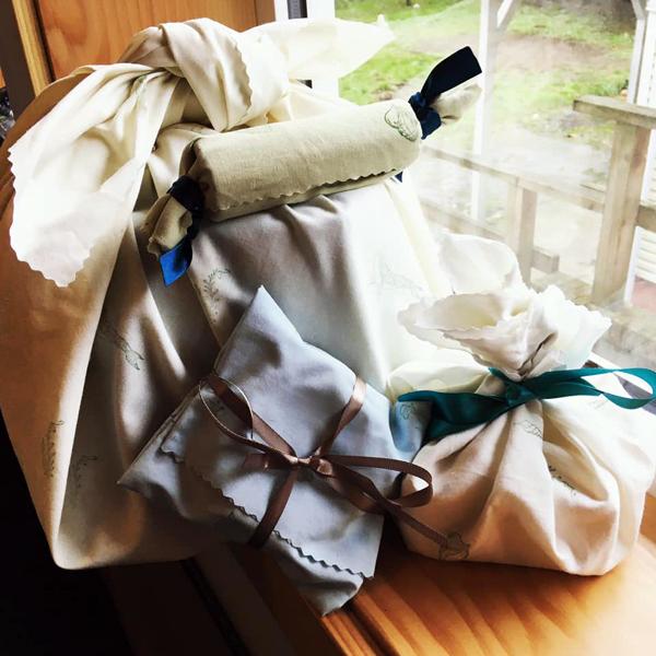 furoshiki reusable cloth gift wrap bags made on Vancouver Island Canada