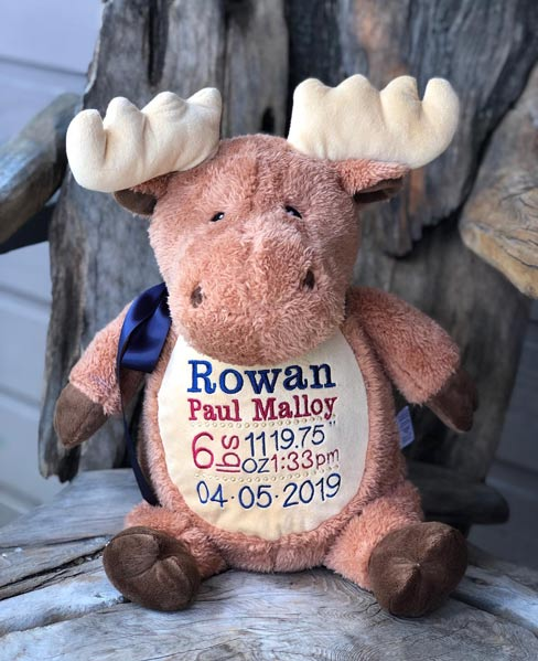 custom embroidered moose stuffed animal, made in Victoria on Vancouver Island by Threading the Love