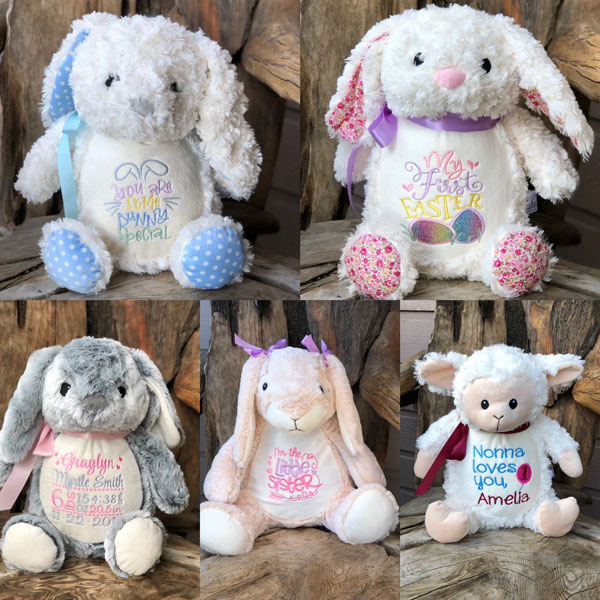 customized easter gifts, embroidered bunnies made on Vancouver Island