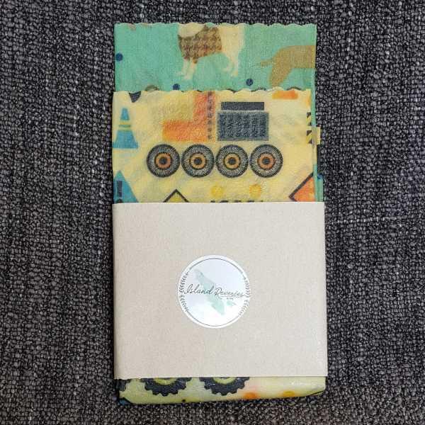 Kid's print Beeswax wraps made on Vancouver Island