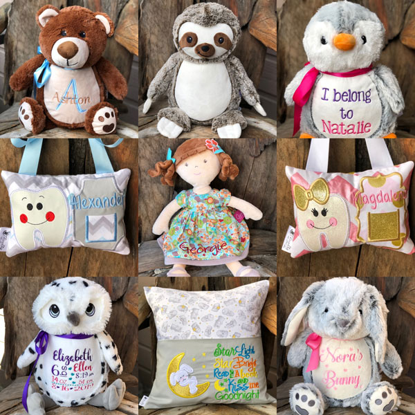 personalized stuffies, tooth fairy pillows, reading pillows, made on Vancouver Island in Victoria