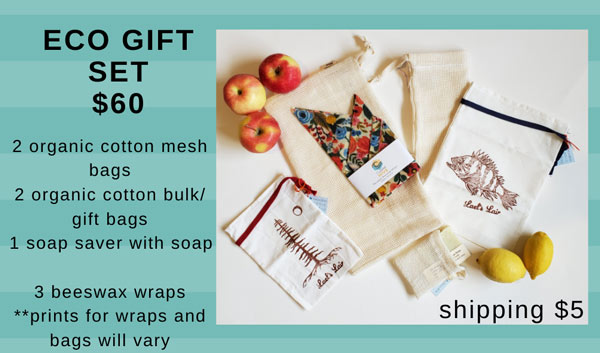 ecofriendly gift set including reusable bulk bags, beeswax wraps, soap saver, made on Vancouver Island from Coastal Hive