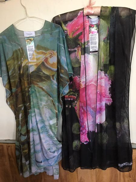 Kimono and overblouses printed with original art by Canadian artists Yvonne Maximchuk