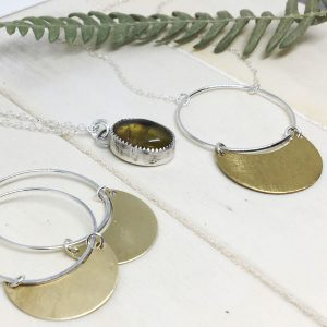 Crescent mood jewellery and Amber Necklace made in Courtenay on Vancouver Island by Umlaut