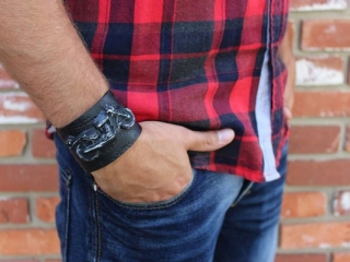 motorcycle cuff handmade on Vancouver Island by Uprise Jewelry