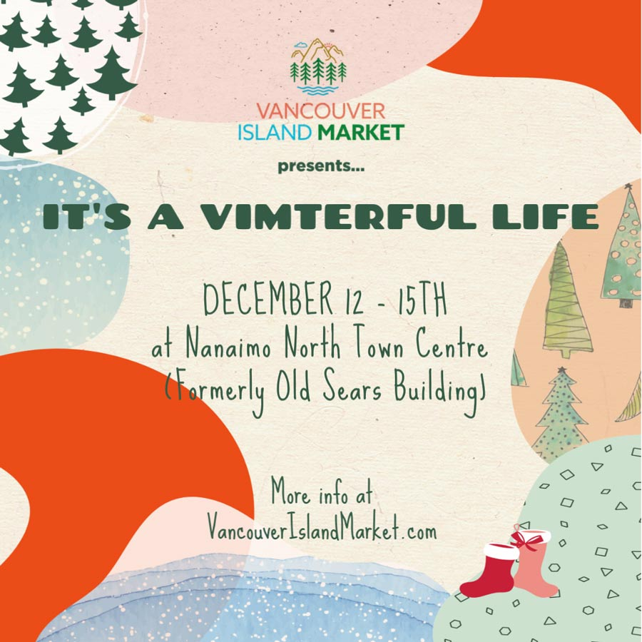 Vancouver Island Market 'Vimterful Life' flyer, craft market in Nanaimo