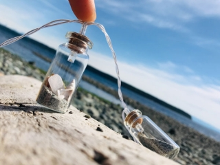lightstrands with vancouver Island sand and shells by Viocean Canada