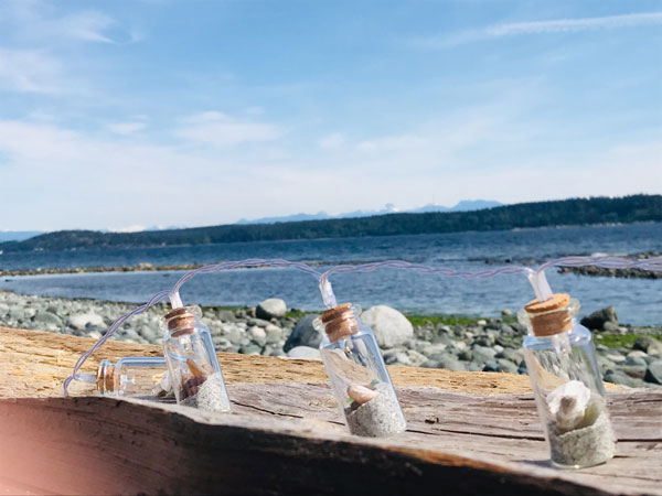 light strands with Vancouver Island shells and sand by Viocean Canada