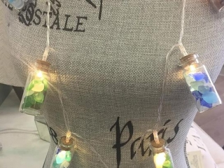 light strands filled with Vancouver Island beach glass by Viocean Canada