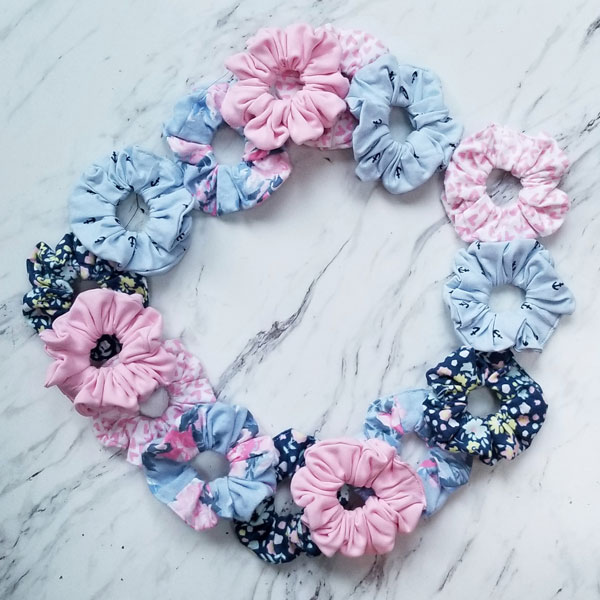 Pink, blue, and floral kid's scrunchies handmade on Vancouver Island, by Violet + Lily, Parksville