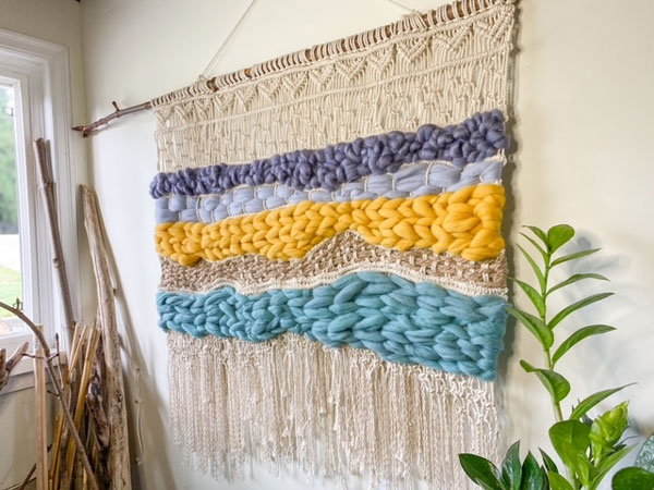 beachy vibes large wall macrame hanging, made in Canada on Vancouver Island by West Coast Cozy