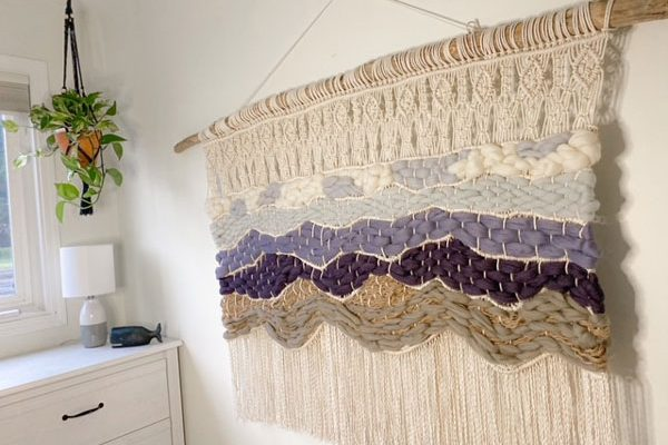beach and mountain west coast style macrame wall hanging, art made in Canada on Vancouver Island