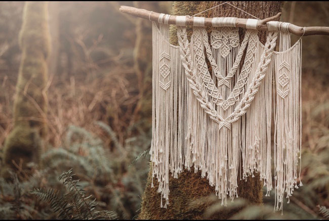 large macrame wall hanging made in Canada on Vancouver Island