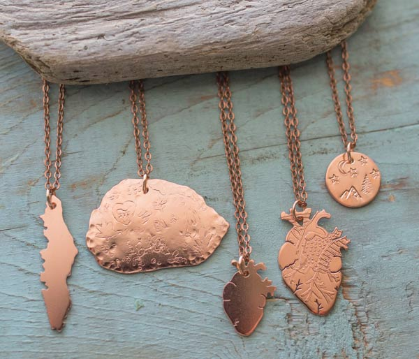 Variety of necklaces including Campbell River Big Rock, sold at Vancouver Island store West Coast Mamas