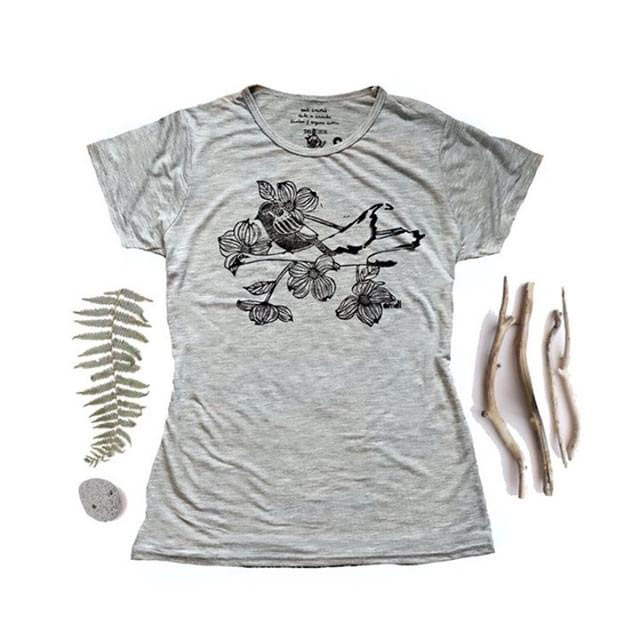 Grey bamboo t-shirt with bird and flowers, handmade on Vancouver Island available at West Coast Mamas