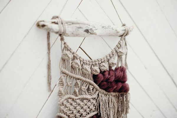 macrame and drift wood wall hanging, art made in Nanaimo B.C. Canada by Willa Wren