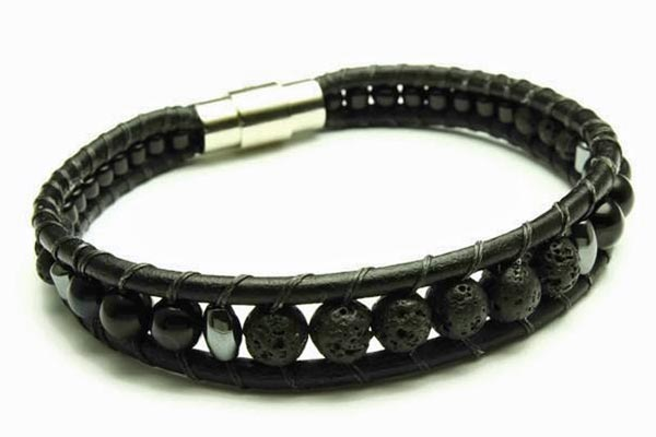 Men's lava rock bracelet made in Victoria B.C. by Woven Stone Co.