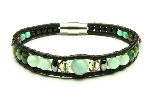 leather and gemstone bracelet in shades of green handmade on Vancouver Island by Woven Stone Co.