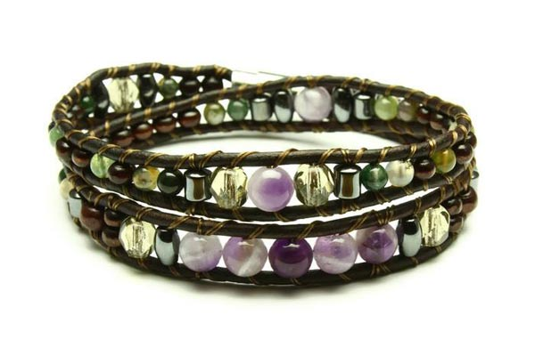 Amethyst, jasper, hematite leather bracelet made in Victoria on Vancouver Island