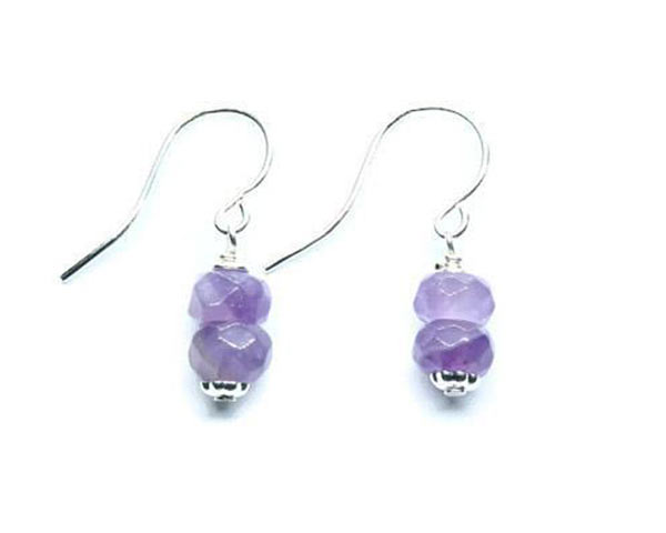 Silver and amethyst earrings made in Victoria on Vancouver Island