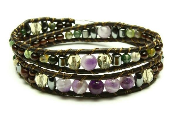 Amethyst wrap brackelet with leather and stones from Vancouver island Jewelry Woven Stone