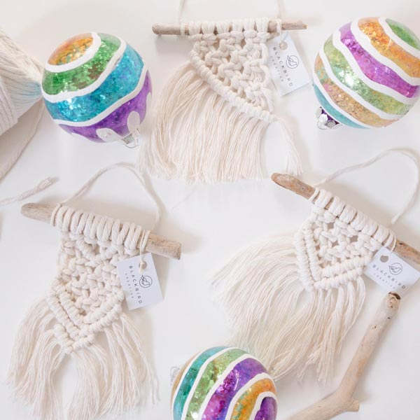macrame Christmas Tree ornaments made in Canada on Vancouver Island by Blackbird Creative