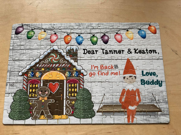 personalized Christmas elf puzzle, Elf on the Shelf ideas, made in Canada