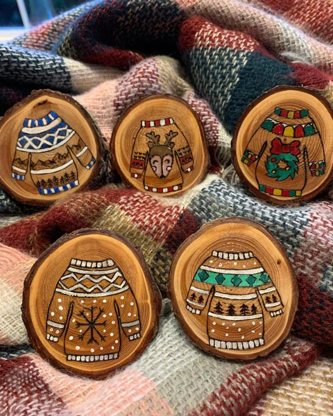 Christmas sweater ornaments made on Vancouver Island Canada in Parksville by Honeybeezigns