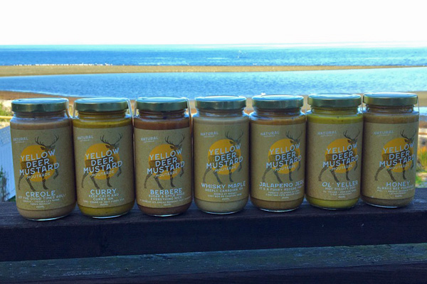 7 varieties of small batch Canadian Made mustard made on Vancouver Island by Yellow Deer