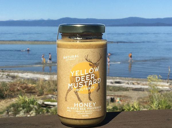 Canadian made honey mustard, product of Vancouver Island BC by Yellow Deer Mustard