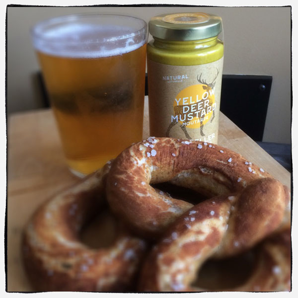 Canadian made mustard and pretzle, product from Qualicum Beach B.C.