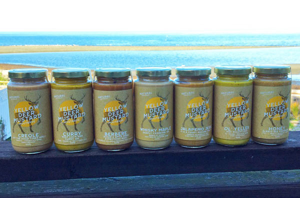 various flavours of mustards made in Canada on Vancouver Island by Yellow Deer