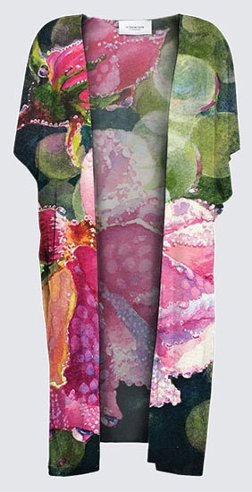 "kimono printed with ""Roses in June"", art by Yvonne Maximchuk from Gilford Island"