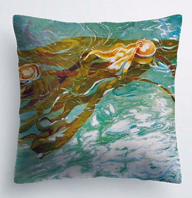 pillow printed with artwork by Yvonne Maximchuk, kelp forest